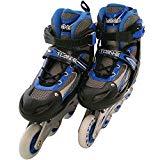 インラインスケート2 シェルブーツタイプ ローラースケート 子供用 キッズ 光るタイヤ サイズ調整可能 ブルー/M