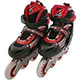 インラインスケート2 シェルブーツタイプ ローラースケート 子供用 キッズ 光るタイヤ サイズ調整可能 レッド/M