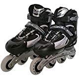 インラインスケート2 シェルブーツタイプ ローラースケート 子供用 キッズ 光るタイヤ サイズ調整可能 ブラック/M